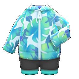 Image of Leaf-print wet suit