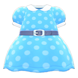Animal Crossing New Horizons Belted Dotted Dress (Light Blue) Image