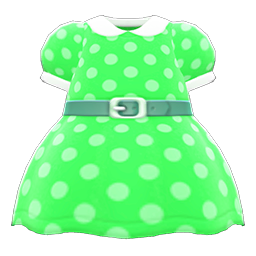 Animal Crossing New Horizons Belted Dotted Dress (Green) Image