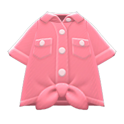 Image of Front-tie button-down shirt