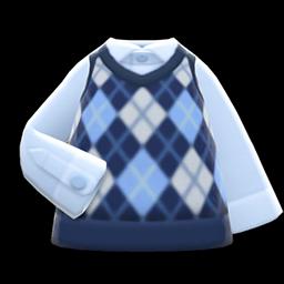 Animal Crossing New Horizons Argyle Vest (Blue) Image