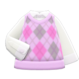 Animal Crossing New Horizons Argyle Vest (Pink) Image